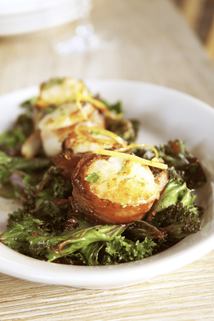 wild caught scallops and frizzled kale