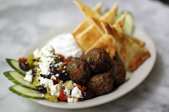 lamb meatballs and sumac hummus